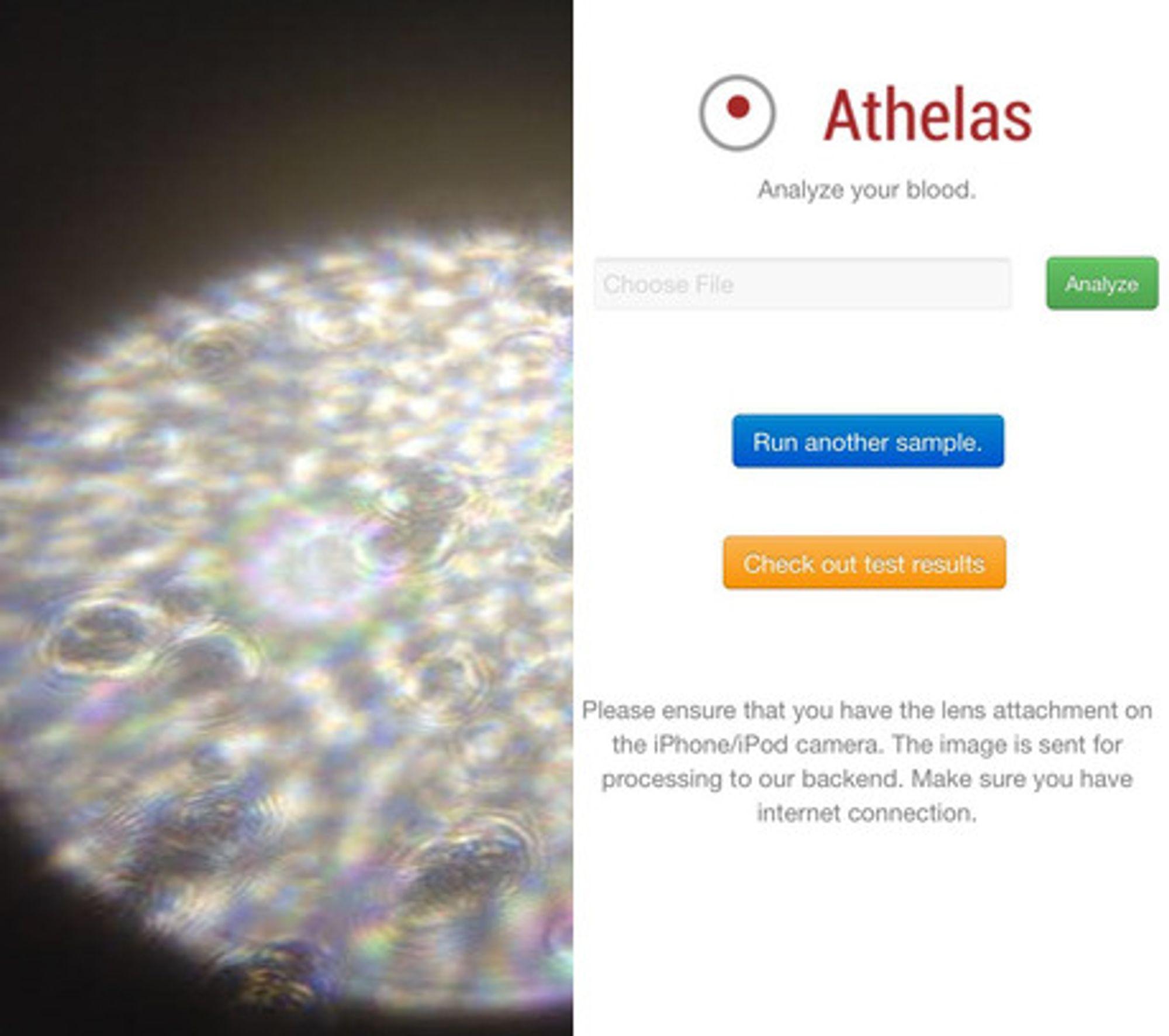 Slik ser Athelas-appen ut i bruk.