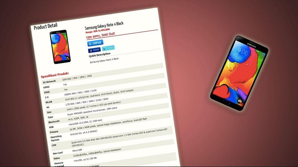 Galaxy Note 4-spesifikasjonene lekket?