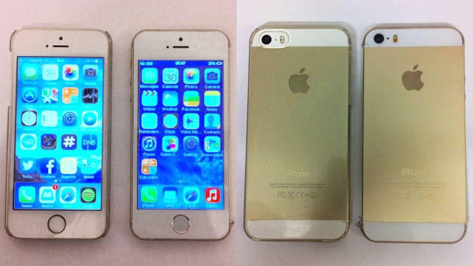 Telefonene til høyre i de to bildene er kopier, mens de to til venstre i de to rammene er ekte. Men det er ikke veldig lett å se forskjell.