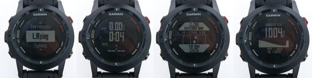 """Noen skjermbilder fra Fenix 2. Fra venstre: 1) Start av aktivitet, 2) en av flere informasjonsskjermer under løping, 3) """"virtual partner"""" lar deg konkurrere mot virtuell treningspartner, 4) barometer."""