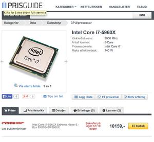 Prisen for den kraftigste Haswell-E-prosessoren har lekket.