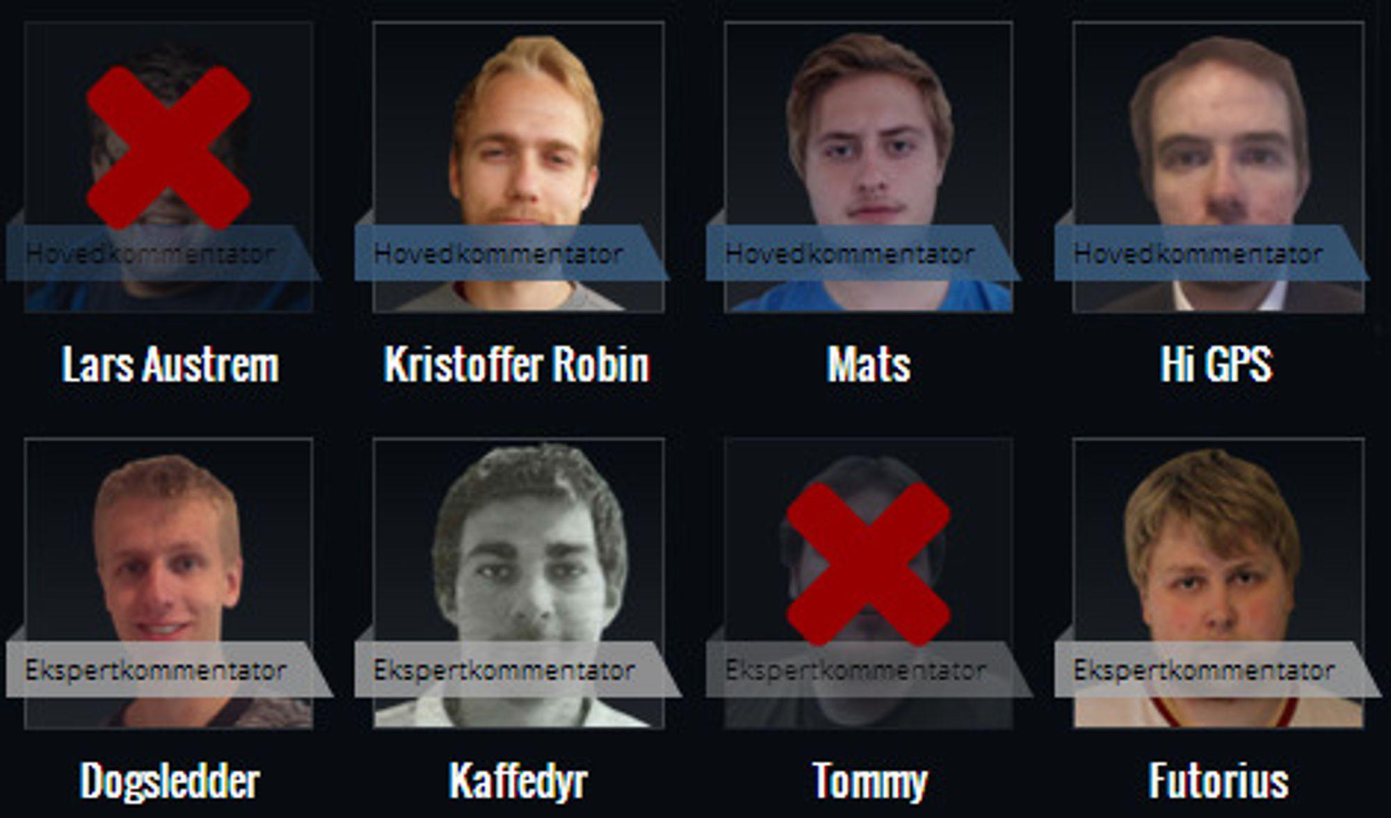 Dette er StarCraft-kommentatorene som deltar i konkurransen.