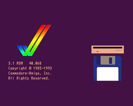 Oppstartsbildet til Amiga 1200.