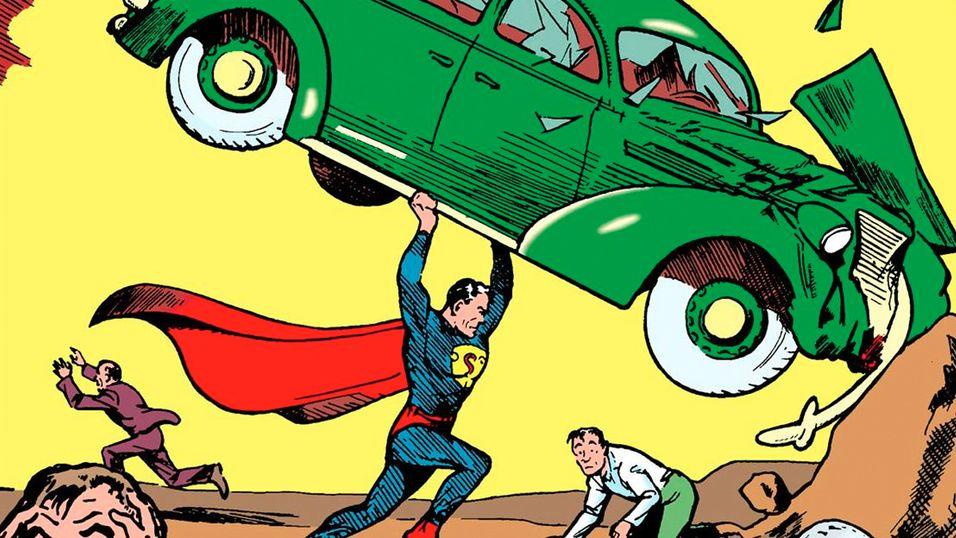 Slik så Supermann ut i sin aller første tegneserie i 1939.