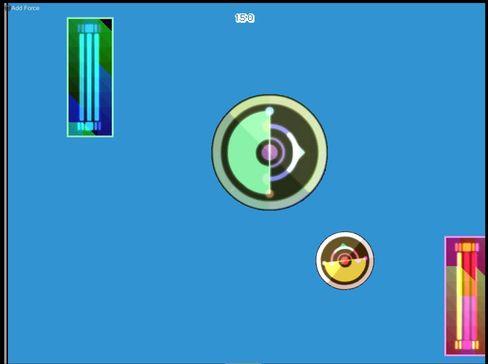 Dette er Adriels første spill. Den lille ballen styres gjennom en sideskrollende løype.