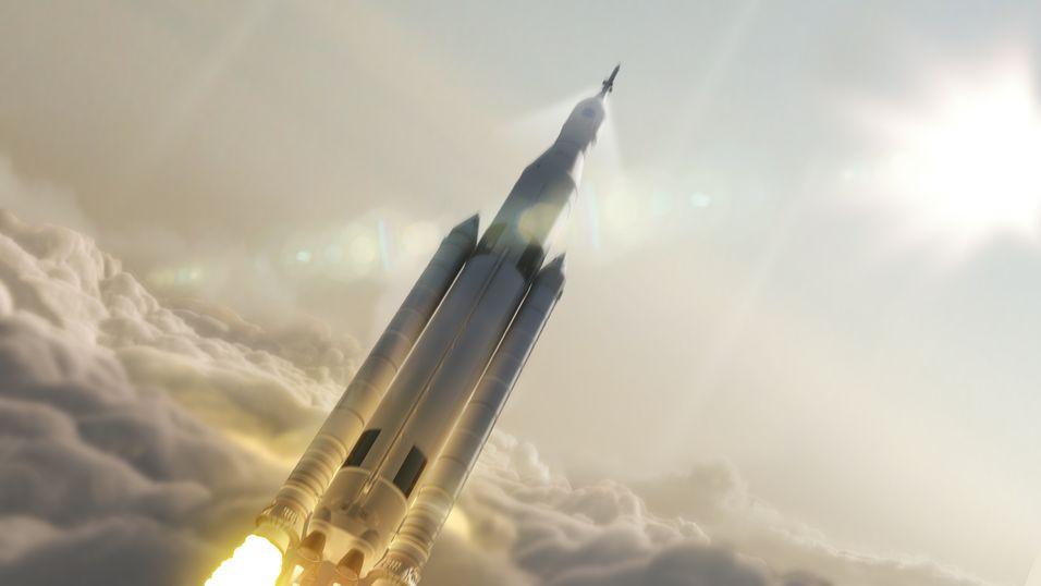 Slik ser NASA for seg at Space Launch System-raketten på 70 tonn vil se ut.  Det vil være den kraftigste raketten noensinne bygd for lange reiser i verdensrommet.