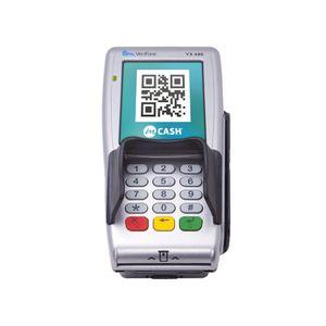 Med mCash kan du betale ved å scanne en QR-kode, her på en Point-terminal.