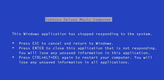 Slik så Ballmers blåskjerm ut – ikke helt annerledes enn den vi fant i Windows-versjonene helt frem til Windows 8.
