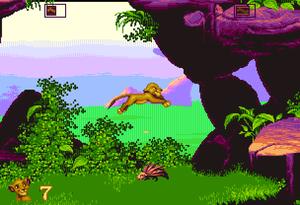 Det første brettet i The Lion King (her på Amiga).