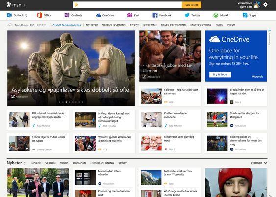 Og slik er den nye forsiden til MSN.com (klikk for større bilde).