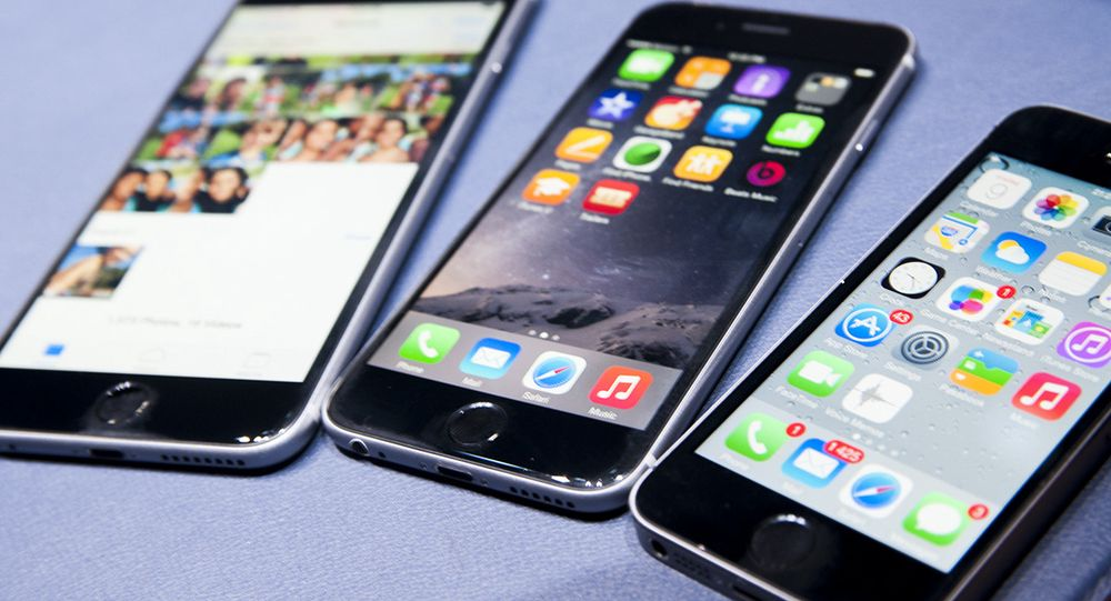 Fra venstre: iPhone 6 Plus, iPhone 6 og iPhone 5S.