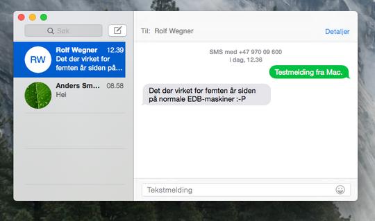 I Yosemite har Apple samlet alle meldinger i en applikasjon, og lar deg til og med sende SMS fra Mac-maskinen din. .