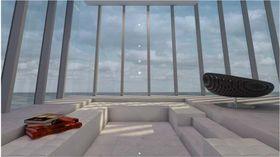 Minimalistisk interiør preger bygningen innvendig.