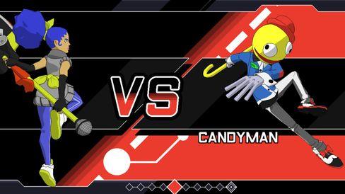 Alt fra teksttypen til menyene og hele veien til den mannlige annonsøren er som hentet rett fra Super Smash.