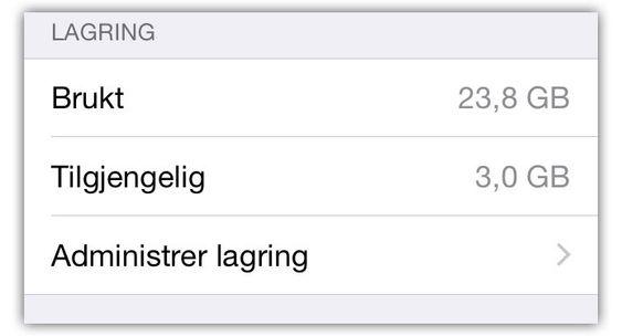 Sjekk hvor mye lagringsplass du har ledig. Trykk på «administrer lagring» for å se en liste over appene som tar mest plass.