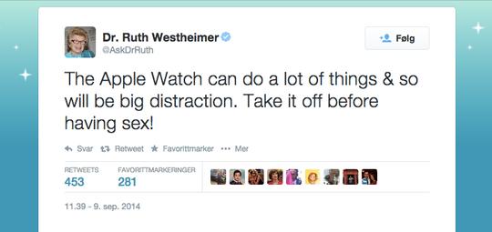 Slik så Twittermeldingen med oppmuntringen om å ikke å ha på Apple Watch når du skal snakke med din  kjøre ut.