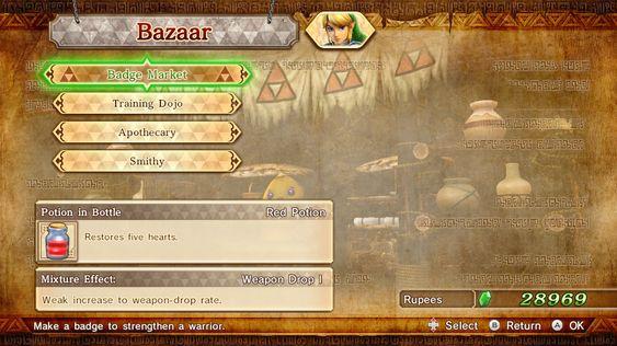 I basaren kan du oppgradere våpen og gjøre spillfigurene mektigere.