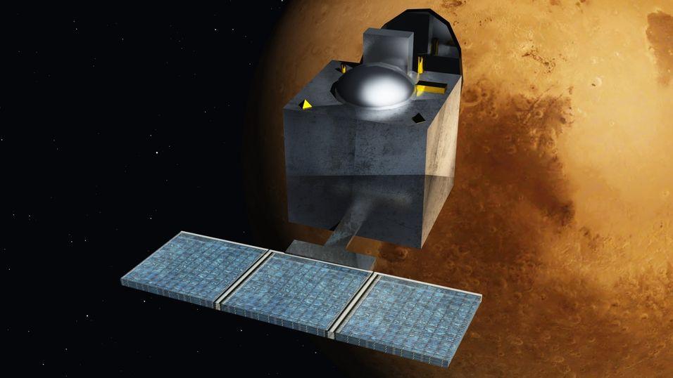 Illustrasjon av satellittens ankomst til Mars.