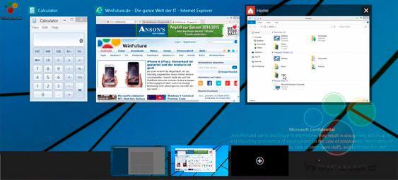 Slik ser angivelig oversikten over de virtuelle skrivebordene ut i Windows 9.