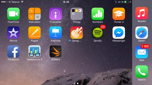 iOS 8 har blitt tilpasset store mobilskjermer, og på iPhone 6 Plus har hele menysystemet en sidelengs modus.