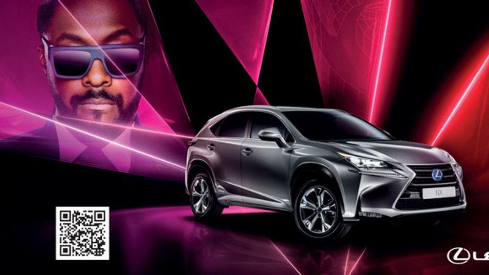 will.i.am har designet denne bilen fra Lexus, og visstnok lagt hele sine «kreative personlighet» i oppgaven.