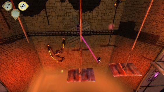 Samspillet mellom gutten og skyggen i plattformelementene er underholdene.