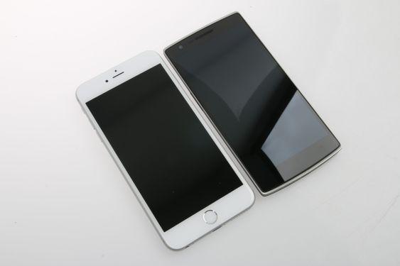 iPhone 6 Plus er en del større enn OnePlus One.