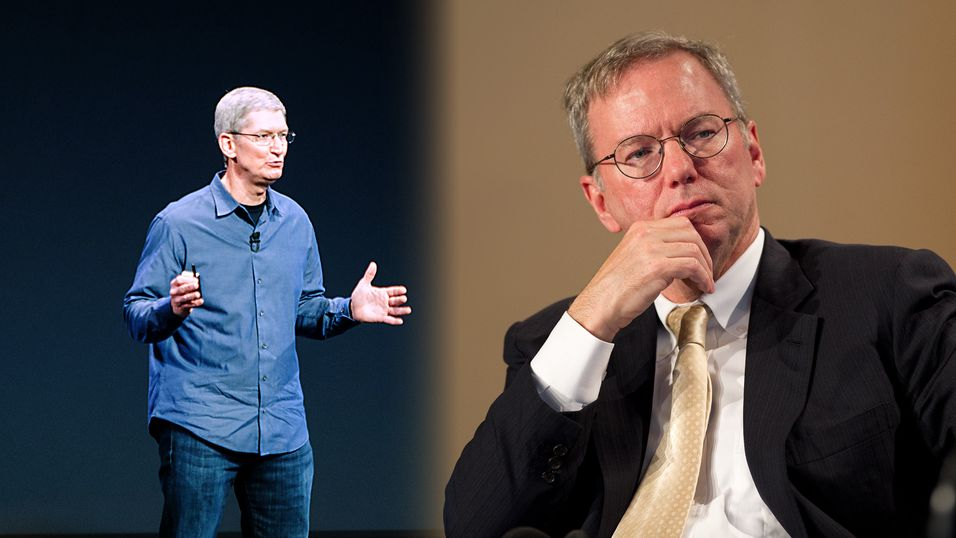Fv: Apple-sjef Tim Cook og Google-sjef Eric Schmidt.