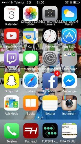 Bortsett fra et par tredjeparts-apper har Sondre Løkaas omtrent bare Apples egne apper på hjemskjermen.