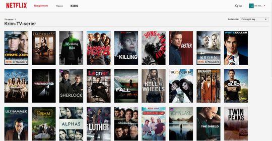 Netflix, skjermdump 7.10.2014.