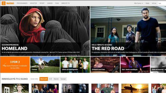 TV 2 Sumo, skjermdump 7.10.2014.