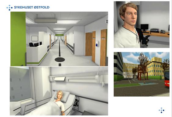 Skjermdumper fra spillet der sykepleierne kan trene på å jobbe i det nye bygget.