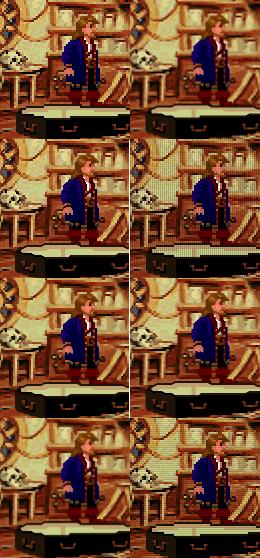 Monkey Island 2 med ulike grafiske filtere i SCUMMVM. Bildet øverst til venstre er originalen, kun forstørret.