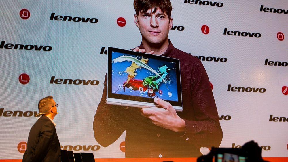 Aston Kutcher var med oss fra LA. Han har vært med å sette sitt preg på Lenovos Yoga-produkter, og kunne vise frem flere nye nettbrett.