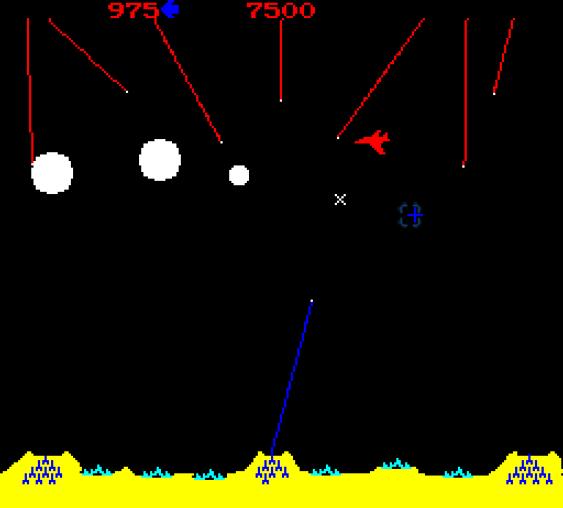 Arkadeversjonen av Missile Command. (bilde: Joachim Froholt/Gamer.no).