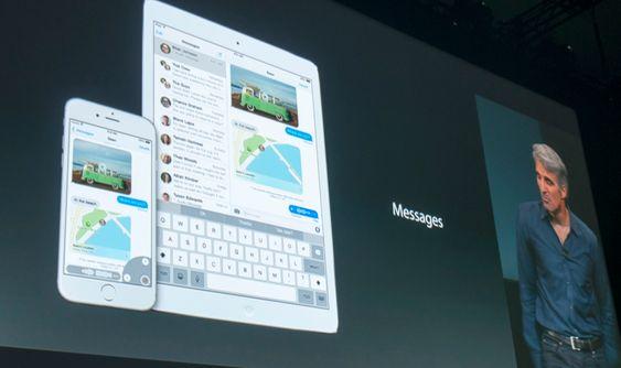 Federighi viser funksjoner i iOS 8.