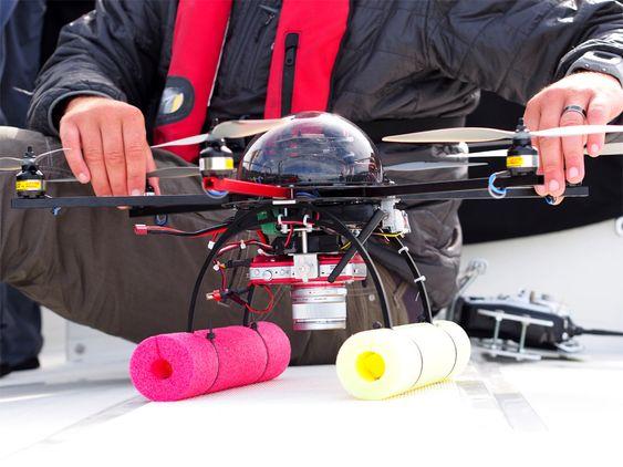 Her er dronen til brukte til opptakene, et hexakopter (6 propeller).