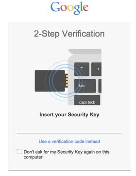 Dette er beskjeden du får opp når du bruker sikkerhetsnøkkelen.