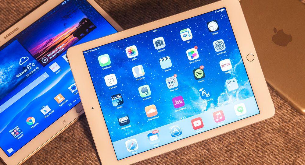 Det er ikke mange nettbrett som når opp til Apples iPad Air 2. Ett av dem ser du til venstre i bildet; Samsung Galaxy Tab S.