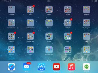 Slik kan en hjemmeskjerm på iPad Air 2 se ut.