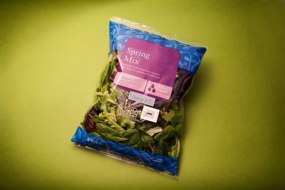 Eksempel på temperatursensor på salatpakning.