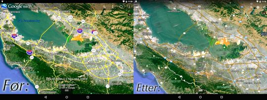 Her sees forskjellene på den nåværende (til venstre) og den nye (til høyre) versjonen.