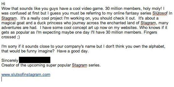 Dette er brevet som den ansvarlige bak siden slutsofinstagram.com sendte til Instagram.
