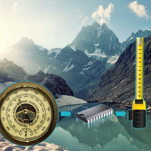 Det digitale barometeret i en moderne smarttelefon brukes til å beregne relativ høyde. Når trykket øker har du beveget deg nedover i omgivelsene, eller funnet deg en trykktank.