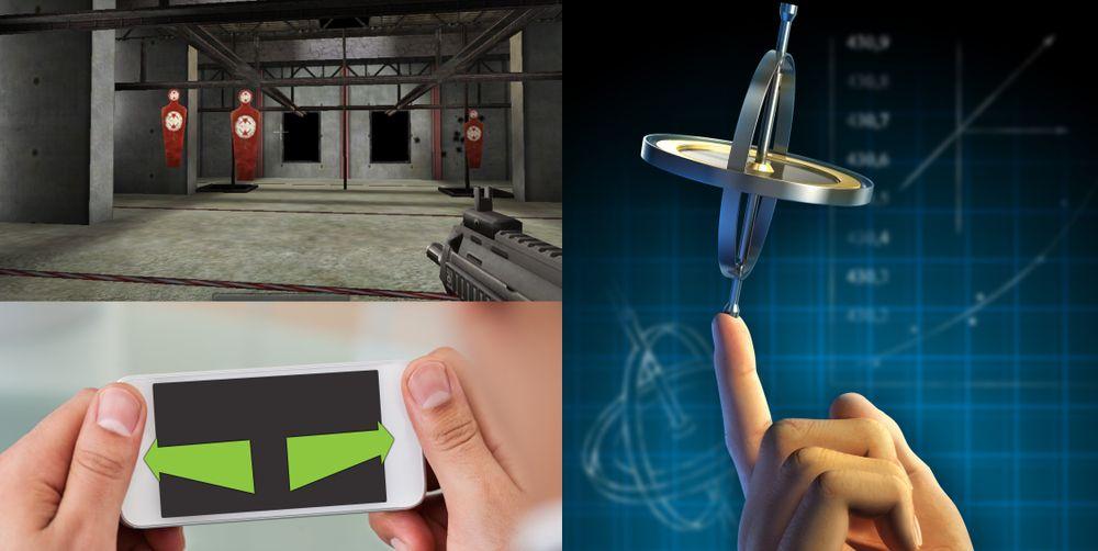 Skytespillet øverst til venstre var ett av de første spillene som baserte seg på mobile gyroskop. Et gyroskop er langt mer presist enn de eldre akselerometerne. I tillegg kan det måle horisontale vridninger av enheten, slik at du enkelt kan sikte eller se deg omkring i spill som ellers ville krevd styring med knapper.