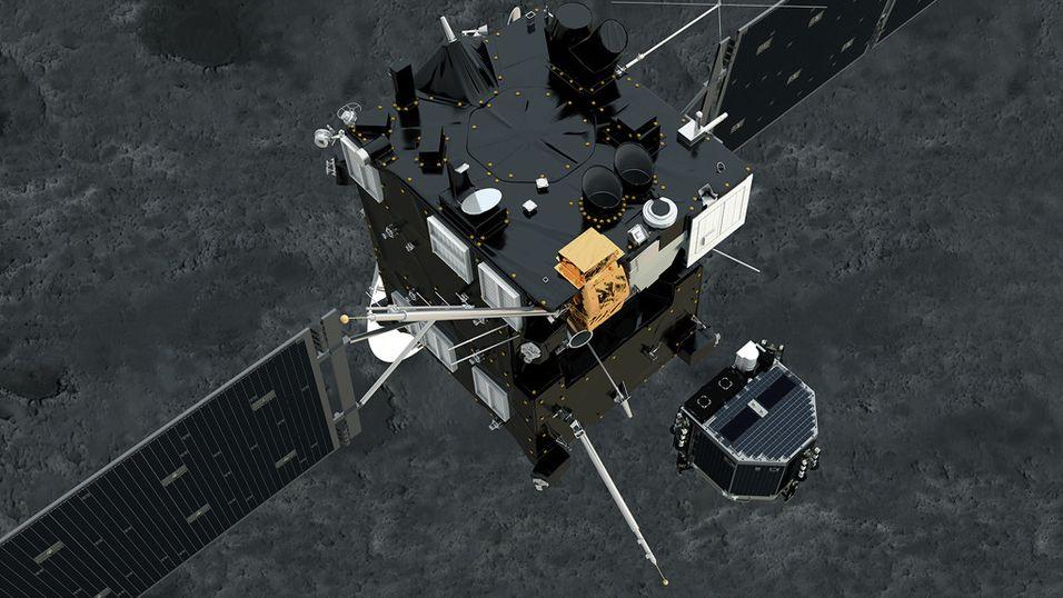 Illustrasjon av Philae som separerer seg fra Rosetta og lander på overflaten til komet 67P/Tsjurjumov-Gerasimenko.