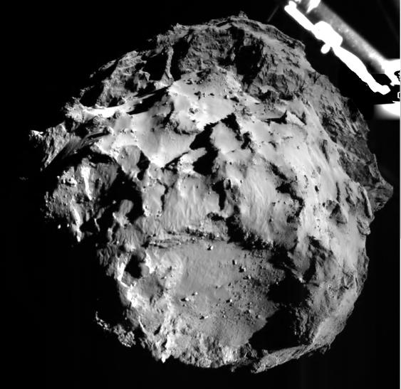 """Dette bildet ble tatt fra Philae ca. 3 km. før """"touchwdown"""" på kometen."""