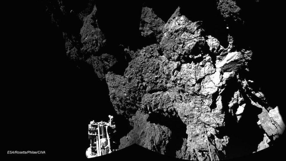 Dette bildet viser at Philae har landet på kometen