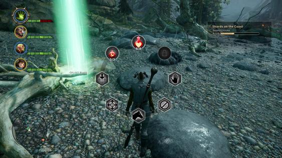 Et action-hjul pauser spillet og gir kjapp tilgang til enkle kommandoer. (Skjermbilde: Gamer.no).