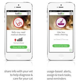 Det følger med en egen app. Her kan du få informasjon om katten, og varsle eventuelle kattapassere om diverse behov.